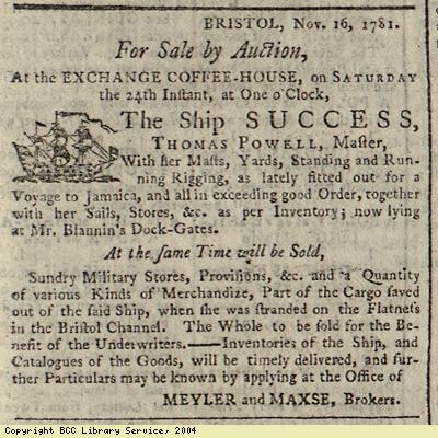 Advert for the sale of a ship