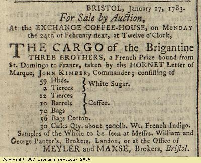 Advert for auction of cargo of ship