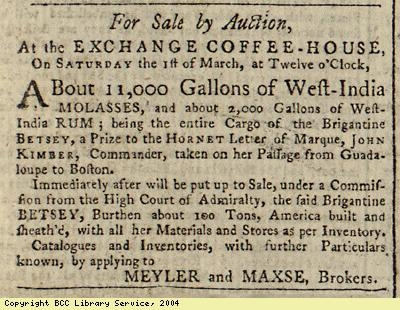Advert for auction of molasses and rum