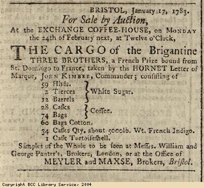 Advert for auction of ship