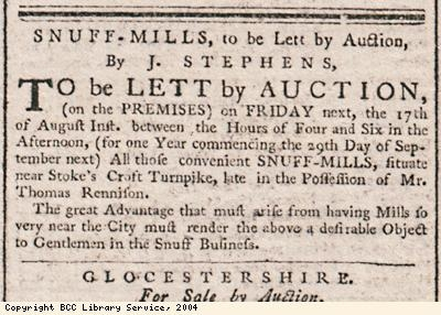 Advert for auction of snuff mills