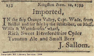 Advert for cider and beer imported