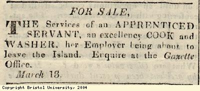 Advert for sale of apprenticed servant