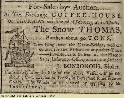 Advert for sale of ship and ivory by auction