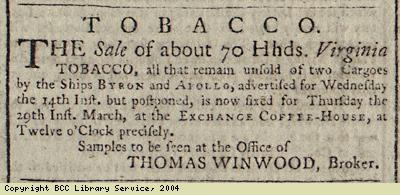 Advert for sale of tobacco