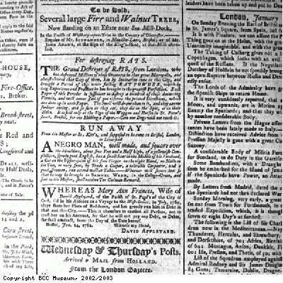 Advertisement for a runaway slave from St Kitts