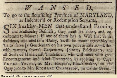 Advert; servants to go to Maryland