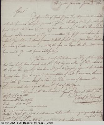 Letter re slave rebellion