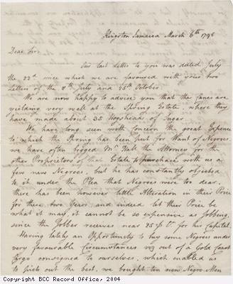 Letter regarding the purchase of slaves