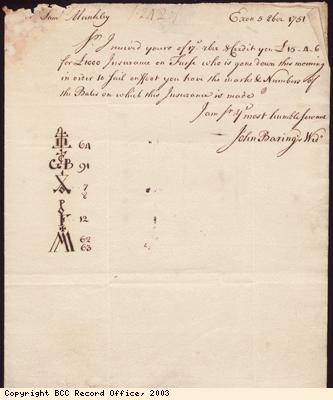 Letter, John Barings widow to S Munckley