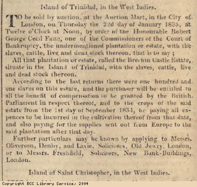 Newspaper extract, plantation sale