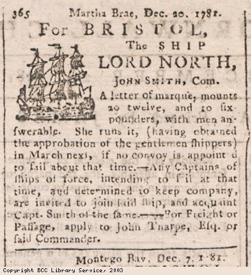 Newspaper extract, sailing of ship