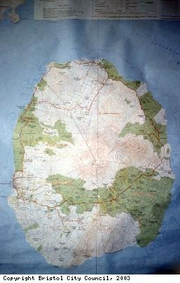 Photograph of Nevis map