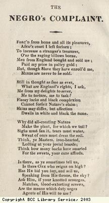 Poem called The Negroes Complaint