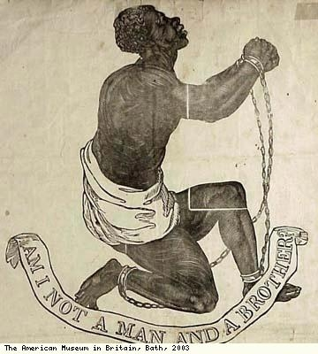 Print of abolitionist and slave (detail)