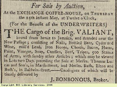 Sale by auction of cargo of ship