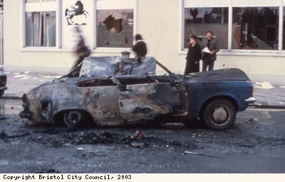 St Pauls Riots, burnt-out police car